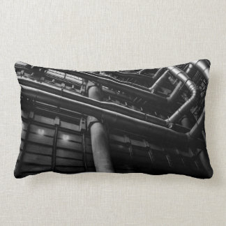 Black and White Industrial Pipes, Architecture Pillow