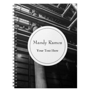 Black and White Industrial Pipes, Architecture Spiral Notebook