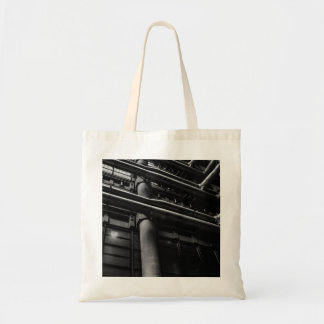 Black and White Industrial Pipes, Architecture Tote Bag