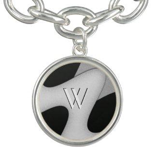 Black and White Initial Charm Bracelet