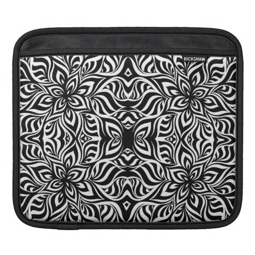 Black and White Ink Fractal Flowers iPad Sleeves