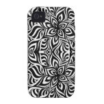 Black and White Ink Fractal Flowers iPhone 4 Case