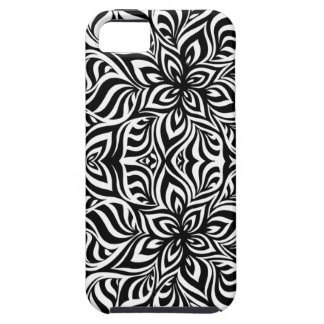 Black and White Ink Fractal Flowers iPhone SE/5/5s Case