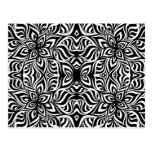 Black and White Ink Fractal Flowers Post Cards