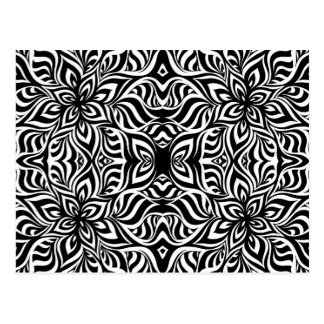 Black and White Ink Fractal Flowers Postcard