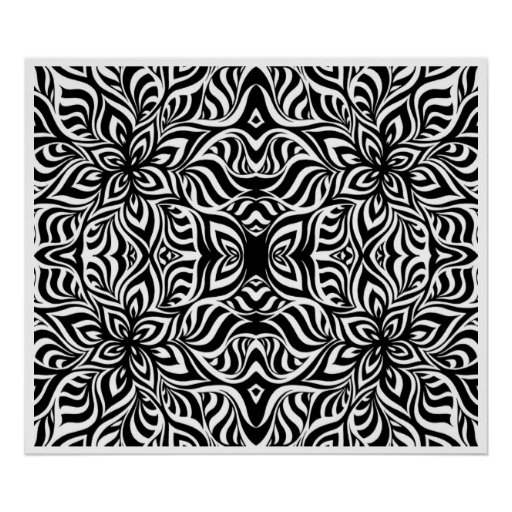 Black and White Ink Fractal Flowers Poster