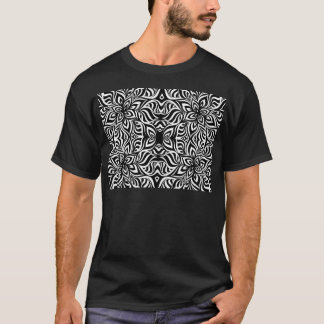 Black and White Ink Fractal Flowers T-Shirt