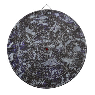 Black and White Ink on Purple Background Dart Board