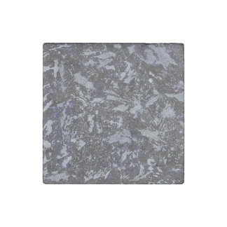 Black and White Ink on Purple Background Stone Magnet