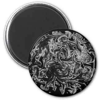 Black and White Ink Swirl 2 Inch Round Magnet