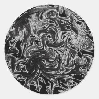 Black and White Ink Swirl Classic Round Sticker