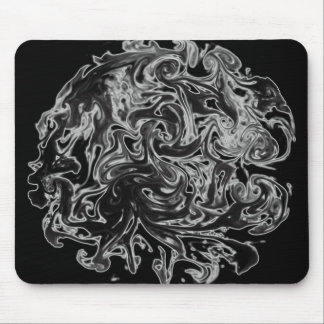 Black and White Ink Swirl Mouse Pad