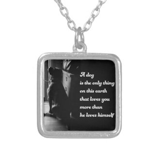 Black and White Inspirational Dog Photo Silver Plated Necklace