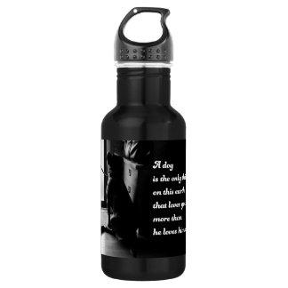 Black and White Inspirational Dog Photo Water Bottle
