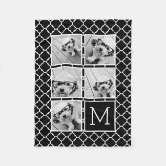 Black and White Instagram 5 Photo Collage Monogram Fleece Blanket