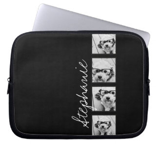 Black and White Instagram Photo Collage Laptop Computer Sleeve