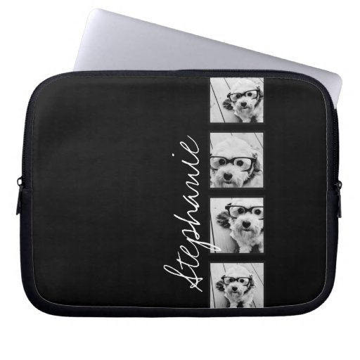 Black and White Instagram Photo Collage Laptop Sleeve