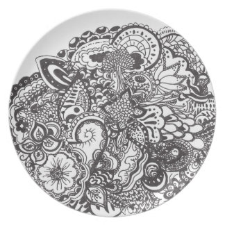 Black and white intricate ink drawing melamine plate