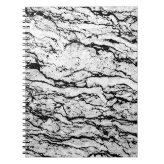 Black and White Intricate Marble Stone Pattern Notebook