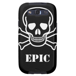 Black and White inverted Epic Skull n bones Galaxy S3 Cover