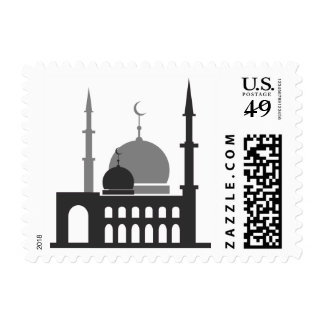 Black and White Islamic Mosque Silhouette Stamp