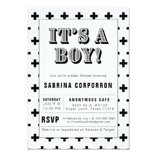 Black And White It S A Boy Baby Shower Invitation
