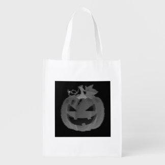 Black and White Jack-o-Lantern Trick or Treat Grocery Bag