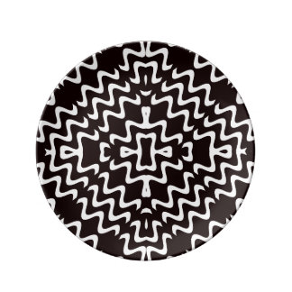 "Black and White Jagged Edge 8.5"" Porcelain Plate"