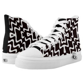Black and White Jagged Edge Pattern High Top Kicks Printed Shoes
