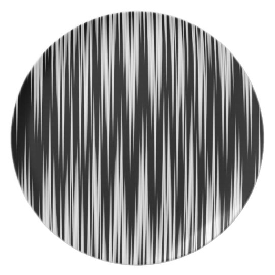Black and White Jagged Zigzag Plate