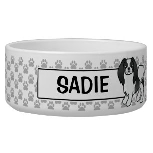 Black And White Japanese Chin Cartoon Dog Bowl