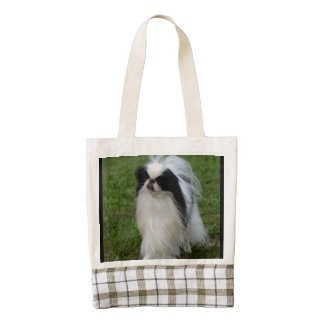 Black and White Japanese Chin Zazzle HEART Tote Bag