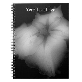 Black And White Japanese Iris Flower Notebook