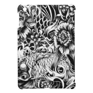 Black and white Japanese Koi tattoo art. Cover For The iPad Mini
