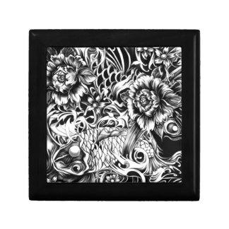 Black and white Japanese Koi tattoo art. Keepsake Box