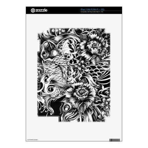 Black and white Japanese Koi tattoo art. iPad 2 Decal