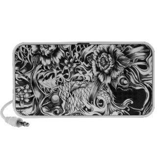 Black and white Japanese Koi tattoo art. PC Speakers