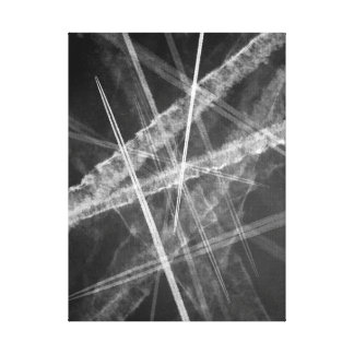 Black and white Jet Trails Canvas Print