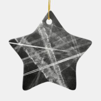 Black and white Jet Trails Ceramic Ornament