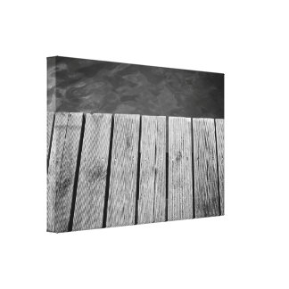 Black and White Jetty, Wooden Planks Canvas Print
