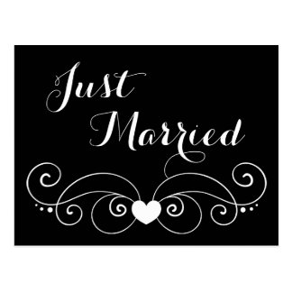 Black And White Just Married Wedding Announcement Postcard