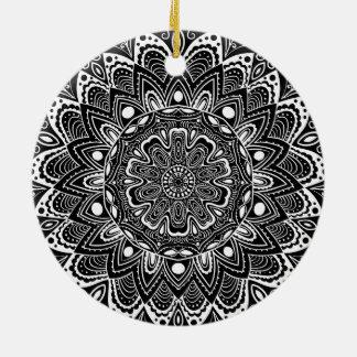 Black and White kaleidoscope Ceramic Ornament