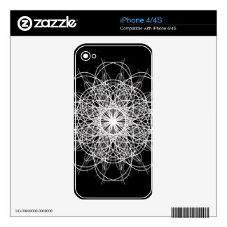 Black and White Kaleidoscope Flower Star iPhone 4 Decals