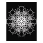 Black and White Kaleidoscope Flower Star Letterhead