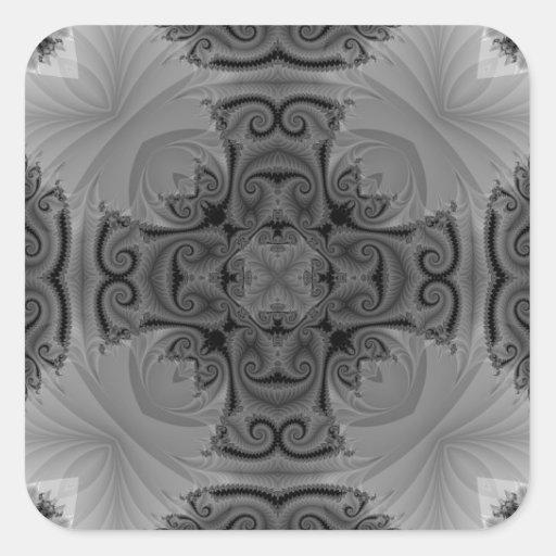 Black and White Kaleidoscope Fractal 6 Sticker