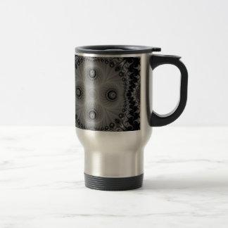Black and White Kaleidoscope Fractal 7 Travel Mug