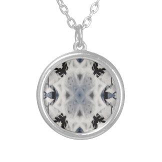 Black and white kaleidoscope graffiti round pendant necklace
