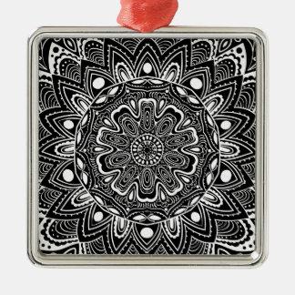 Black and White kaleidoscope Metal Ornament