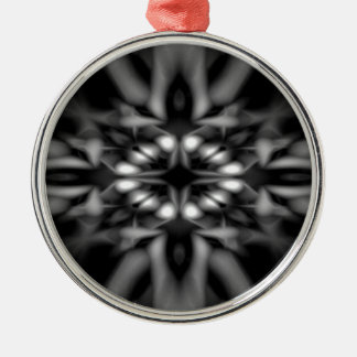 Black and white kaleidoscope pattern metal ornament