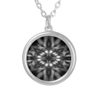 Black and white kaleidoscope pattern round pendant necklace